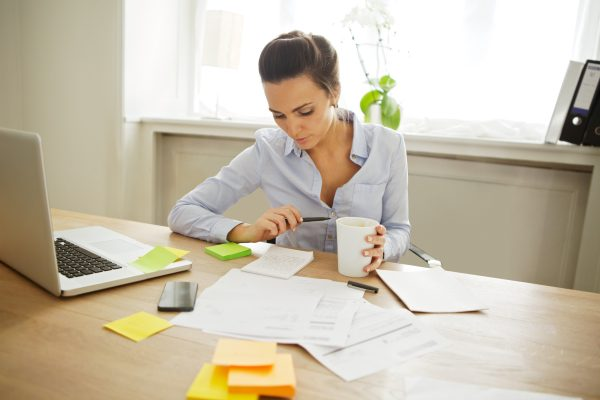 Bookkeeper working at desk