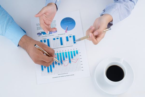 Bookkeeper reviewing financial reports